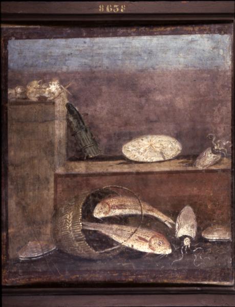 Inv. MANN 8638 - Pesci e seppie, pane e verdure
